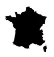 black silhouette country borders map of france on vector image