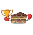 boxing winner tiramisu mascot cartoon style vector image vector image