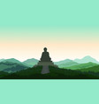 buddha in meditation statue silhouette on top vector image