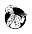 Chef Cooking Pizza Black White vector image vector image
