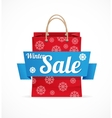 Christmas sale red paper bag on white vector image