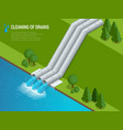cleaning of drains cleaning of drains discharge of vector image vector image