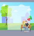 couple in love sits on bench in city park vector image vector image