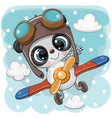 cute panda is flying on a plane vector image