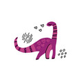 dino girl color flat hand drawn character vector image vector image