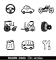 Doodles icons with cars vector image vector image
