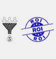 dot sales funnel icon and distress roi seal vector image vector image
