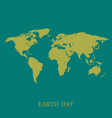 earth map on turquoise background stylish vector image