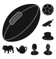 england country black icons in set collection for vector image