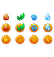 four elements nature icons golden round symbols vector image