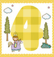 four number cartoon vector image vector image