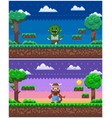 game process pixel characters and scenery set vector image vector image