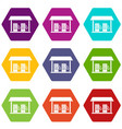 gas station icon set color hexahedron vector image vector image