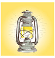 hand draw oil lantern lamp burning vector image vector image