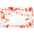 happy birthday celebration party banner red foil vector image vector image