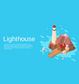 Isometric lighthouse with pier cliff island