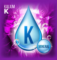 k kalium mineral blue drop icon vitamin vector image