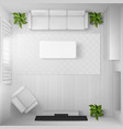 living room with white furniture and tv top view vector image