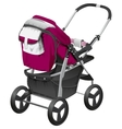 Modern comfortable baby carriage vector image