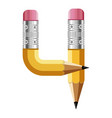 number four pencil icon cartoon style vector image