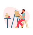 painting flat composition vector image