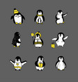 penguin sketch set of vector image