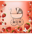 pram and strawberry vector image vector image