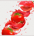 red tomato fruit in tomato juice spash realistic vector image