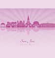 san jose skyline in purple radiant orchid vector image vector image