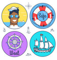 set circle marine icons and other objects vector image vector image