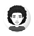 sphere half body woman with curly hair vector image vector image