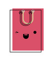 square kawaii shopping bag icon with handle in vector image vector image
