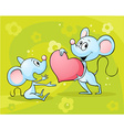two mouses in love - on abstract floral back vector image vector image