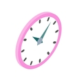 Wall clock with pink rim icon isometric 3d style vector image vector image