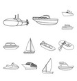 water and sea transport outline icons in set vector image