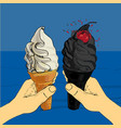 white and blackcharcoal melting ice-cream cone vector image vector image