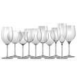 Wine glasses in different sizes vector image vector image