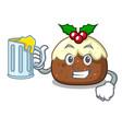with juice fruit cake mascot cartoon vector image