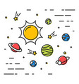 colorful linear space with planets linear simple vector image
