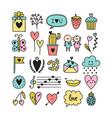 doodle design elements for love theme set of vector image