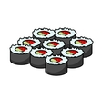 Serving of delicious seafood sushi vector image