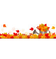 autumn nature panorama with colorful leaves and vector image vector image