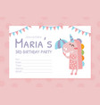 birthday party pink invitation card flyer vector image vector image
