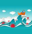 businessman in boat on top ocean wave vector image