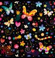 butterflies beetles flowers seamless pattern vector image