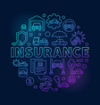 car insurance round blue vector image vector image