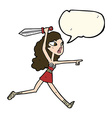 cartoon viking girl with sword with speech bubble vector image