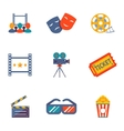 Cinema and Movie flat icon set vector image vector image