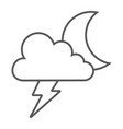 cloud and lightning thin line icon forecast and vector image vector image