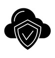 cloud protection solid icon cloud with shield vector image vector image